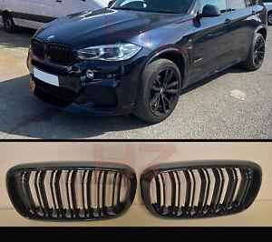 DOUBLE SLAT GLOSS BLACK KIDNEY GRILL FOR BMW X5 F15 X6 F16 F85 F86 2014 2017 X5M