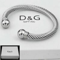 "DG Mens 7""Silver Stainless-Steel,Adjustable Round.Cuff Cable,Bracelet Unisex,Box"