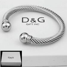 """DG Mens 7""""Silver Stainless-Steel,Adjustable Round.Cuff Cable,Bracelet Unisex,Box"""