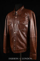 WEST Mens Western Trucker Leather Shirt Cowboy Real Leather Summer Jacket Brown