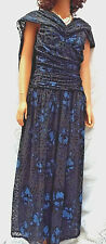 MARIANN ROSS London Beautifully Embellished Black & Sapphire Evening Gown Sz 16
