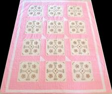 Vintage 1970's Hand Stitched Pink & White Embroidered Floral Quilt 96x81