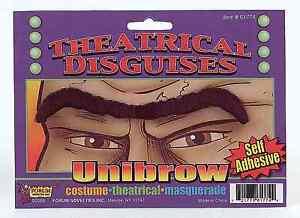 Fake Unibrow Black Facial Hair One Eyebrow Eyebrows Costume Single Funny Brow