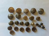 Brass Military Buttons. Assorted 25 pc. Lot . 19 Brass , 6 Plastic . Assorted