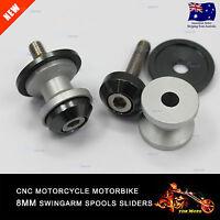 8mm CNC Silver Swing Arm Sliders Spool For Suzuki GSXR GSX-R 600 750 1000 1300
