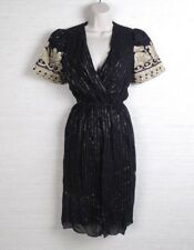Womens VTG Black with Gold Stripes Short Sleeve Dress Size 3 / 4 by Cachet