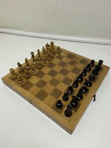 Small soviet chess Full Set 1950s Wooden Russian Vintage USSR antique 25x25 cm