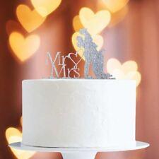 Silver Glitter Bride/Groom Mr&Mrs Heart Cake Topper x1 Baking Pick Wedding