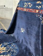 Auth:  Antique Art Deco Chinese Rug   Elegant Azure Blue 10x13 Velvety Beauty NR