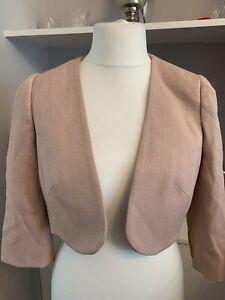 Phase Eight Dusky Blush Pink Cropped Open Front Jacket Bolero Size 14 3/4 Sleeve