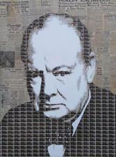NEW ORIGINAL GARY HOGBEN Churchill 0.4 Winston ww2 political war STAMP PAINTING