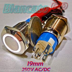 Button Monostable 19mm Spdt LED White 250V AC IP67 Diverter Vandal 5A