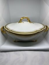Limoges Wm Guerin 4 Rounded Corner Regency Style Serving Dish Heavy Gold