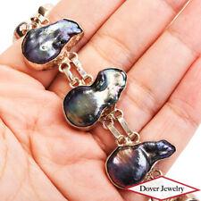 Estate Black Baroque Pearl Sterling Silver Link Wide Bracelet 22.1 Grams NR