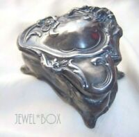 ANTIQUE ART NOUVEAU ORNATE FLOWER PEWTER VINTAGE OLD JEWELLERY TRINKET GIFT BOX