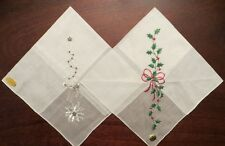 2 vintage Christmas Handkerchiefs Hankies Reindeer Tree Holly Poinsettia w/ tags