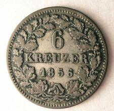 1856 GERMAN STATES (BAVARIA) 6 KREUZER - High Quality Rare Silver Coin - Lot M20