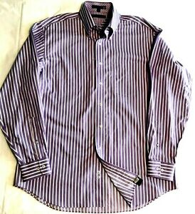 Tommy Hillfiger, Mens Tommy Traveler TLC Purple Striped Shirt, Size 16 34/35 (L)