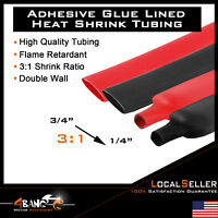 """3 FT.BLACK RED 3/4"""" Diameter Polyolefin 3:1 Heat Shrink Tubing Wire Cable Wrap"""