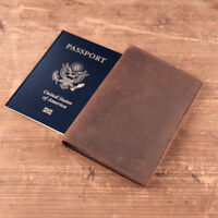 Genuine Leather Passport Holder Cover ID Credit Card Wallet Document Travel Bag