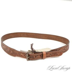 NWT #1 MENSWEAR Wythe New York Brown Tooled Leather Distressed Western Belt 38