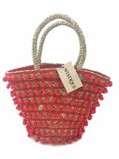 Mystique Pom Pom Medium Beach Tote Bag - Red - RRP £125 - New