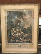Antique Etching Print With Enhanced Color, France La Coquette Fixee