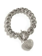 NWT Guess Silver Metal-Clear Stones Heart Charm Stamped Logo Toggle Bracelet