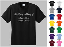 In Loving Memory of Cursive Font Custom Name and Date Personalized T-shirt