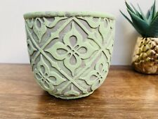Rustic Lime Green Patterned Plant Pot, Indoor Planter, Bright Home Decor