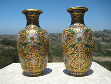 VINTAGE BEAUTIFUL CHINESE BRASS GOLD CARVED CLOISONNE VASE FLOWERS DESIGN  PAIR