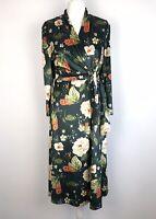kaleidoscope Velvet Velour Midi Dress Size 14 Floral Mock Wrap
