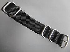 Zulú Strap nylon relojes pulsera negro alrededor de anillos de 22 mm OTAN banda de acero inoxidable mate