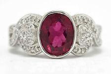 Pink Tourmaline Diamond Engagement Ring 3.15 Ct. Vintage 18K Rubellite Price Cut