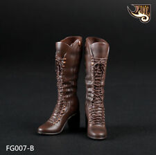 Fire Girl Toys 1/6 Female Brown Combat Boots Shoes F Changable Feet Girl Body