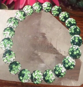 "New 8"" Rustic Green-White Shamballa Crystal 10mm Cuff Bracelet"
