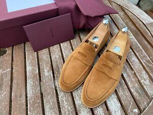John Lobb Lopez Aqua Suede Cognac Loafers UK 9 E  4395 Last half lined £1015 RP