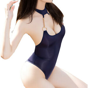 Women's One-piece Halter Neck Bodysuit Low-cut Backless Leotard Sexy Swimwear