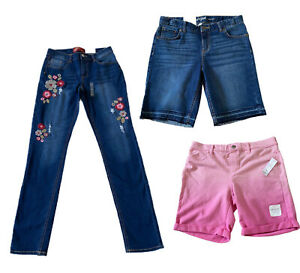 Old Navy ARIZONA Jeans Cat & Jack Girls Denim Bermuda Shorts 3 Pair Sz XL 14/16