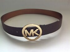 New Michael Kors MK Brown and Gold Wide Belt Medium