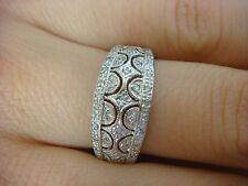 14K WHITE GOLD ANTIQUE FILIGREE DOME BAND RING WITH SMALL DIAMONDS 3.5 GRAMS