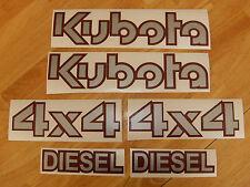KUBOTA DIESEL 4X4 Tractor vinyl decals - 6 piece set