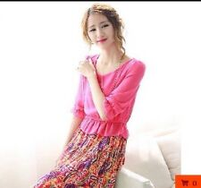 Summer Holiday Beach Boho Fashion Floral Korean Chiffon Black Long Maxi Dress(M)