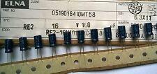 25pcs Elna RE2 100uF 16V 85oC Miniature Aluminum Electrolytic Capacitors