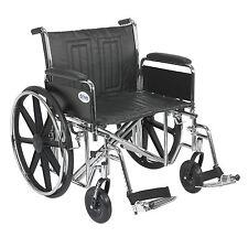 "Sentra EC Heavy Duty Wheelchair, Detachable Full Arms, Swing away Footrests, 24"""