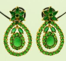 FASHION JEWELRY GEMS 14K YELLOW GOLD GREEN EMERALD beauty lady EARRINGS G01