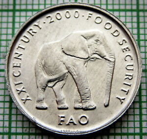 SOMALIA 2000 5 SHILLINGS, ELEPHANT, FAO SERIES, ALUMINIUM UNC
