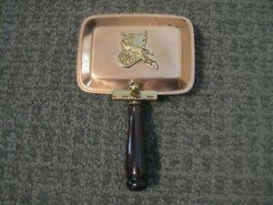 "Vintage-Coppercraft Guild-Silent Butler-Ashtray-Wood Handle-6"" Long-EUC"