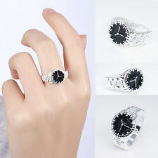 Women Mens Dial Quartz Analog Watch Creative Cool Silver Plated Finger Ring·