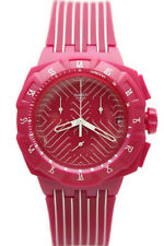 New Swatch Chronograph Pink Run Rubber Band Date Watch SUIP401 45mm $115